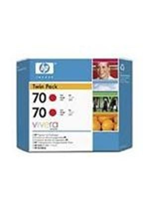 HP No.70 Red Ink Cartridge (130ml) Twin Pack with Vivera Ink