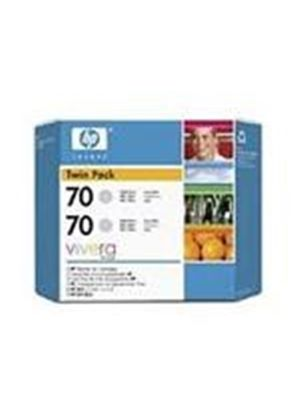 HP No.70 Light Grey Ink Cartridge (130ml) Twin Pack with Vivera Ink