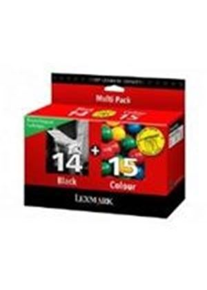 Lexmark No 14 + No 15 Black and Colour Return Program Ink Cartridges (Twin Packs)