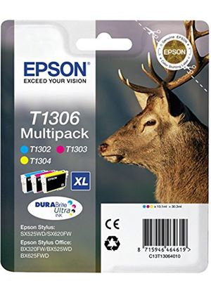 Epson T1306 3 Colour Multipack Ink Cartridges Cyan, Magenta, Yellow (Retail Packed, Untagged) for Stylus Office BX320FW/BX525WD/BX625FWD/SX525WD/SX620FW