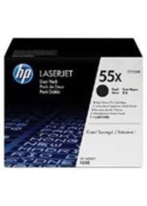 HP 55X Black Dual Pack Print Cartridges (Yield 12,500 Pages) for LaserJet P3015 Printer