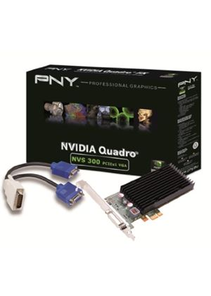 PNY NVIDIA NVS 300 Graphics Card 512MB DDR3 PCI-Express 2.0 x1 with DMS59 to Dual VGA Adaptor Cable (Retail)