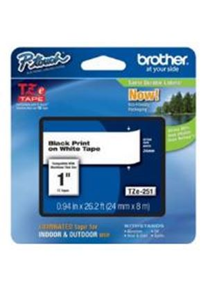 Brother 24mm Adhesive Laminated Labelling Tape (8m) Black on White