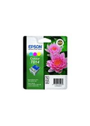 Epson T014 3 Colour (Pink Flower) Ink Cartridge (Cyan/Magenta/Yellow) for Stylus Colour 480/580 C20/C40 Printers - Blister Pack with RF Tag