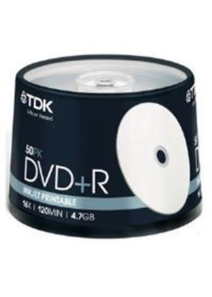 TDK DVD+R 16x 4.7GB 120min Printable Cakebox (50 Pack)