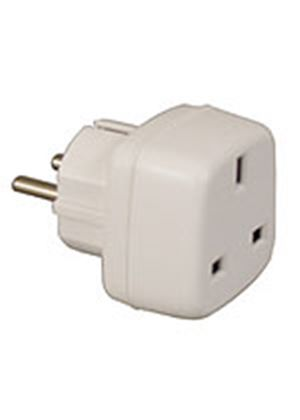 3 pin to 2 pin UK to European Mains Adapter Travel Plug