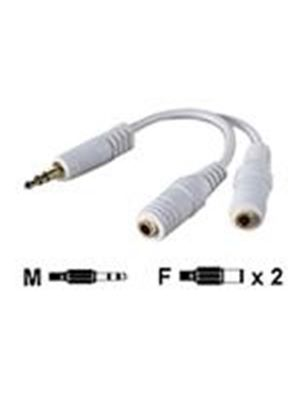 Belkin Headphone Splitter - Headphones splitter - mini-phone stereo 3.5 mm  (M) - mini-phone stereo 3.5 mm  (F) - white