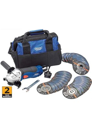 240v 115mm Angle Grinder Kit including bag and 30 discs