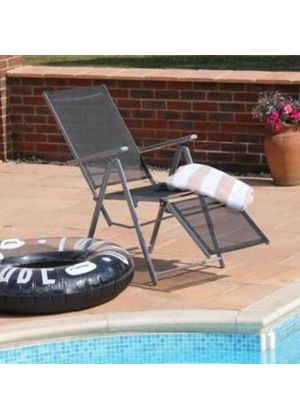 Morocco 5 Position Sun Lounger Quality Metal and Textoline Garden Sunbed Recliner Chair
