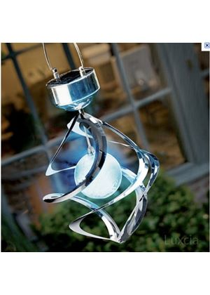 Colour Changing Solar Wind Spinner Spiral Light Ball Garden Tree Patio Red Blue Green Pink