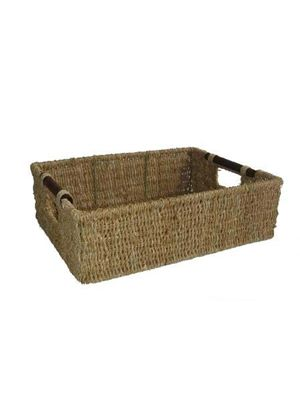 Seagrass Storage Basket with Wood Handles Large