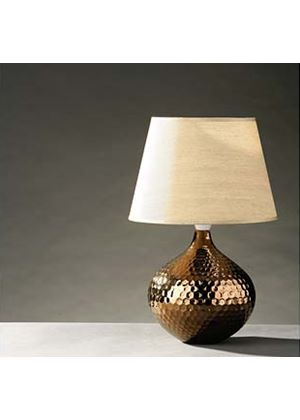 Hammered bronze ceramic table lamp with gold fabric shade for Hammered gold floor lamp