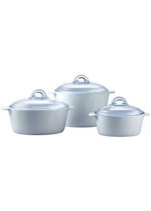 Pyroflam Round Casseroles with Lids Set of 3