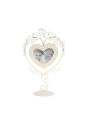 Heart Shape Wire Picture Frame - Cream