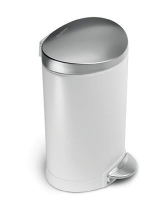 Deluxe Semi-Round Pedal Bin with White Steel Finish, 6 Litre