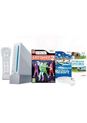Nintendo Wii Console with Wii Sports + Wii Sports Resort and Motion Plus Controller + Just Dance 2 (Wii)