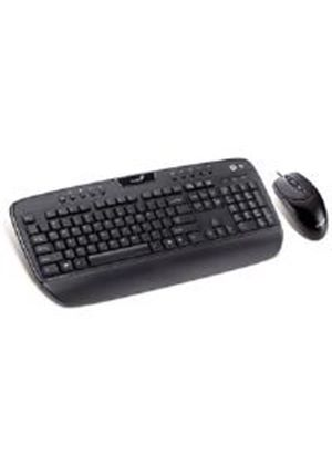 Genius KB-C220e Multimedia Desktop Keyboard with Palm Rest and NS 120 Optical Mouse (Black)