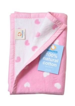 Natural Cotton Baby Blanket - Pink Hearts 75 x 100cm