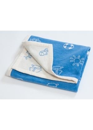 Natural Cotton Baby Blanket - Blue Marina 75 x 100cm