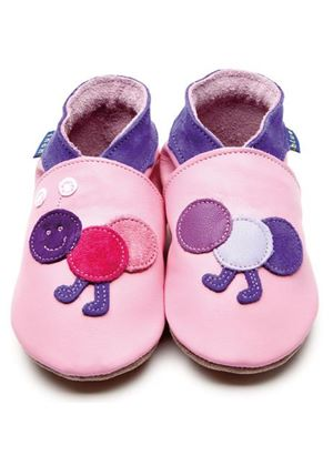 Soft Leather Baby Shoes - Caterpillar Baby Pink