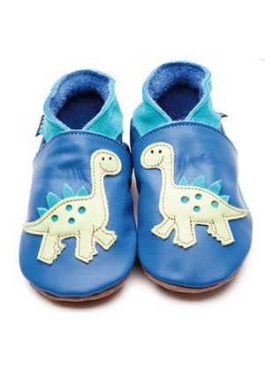 Soft Leather Baby Shoes - Dino Blue/Pastel Green