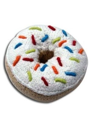 Crochet Donut Rattle - White Icing with Multi Coloured Sprinkles
