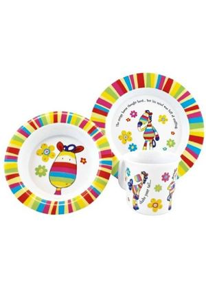 Stripy Horse Melamine Dinner Set (3 Pieces)