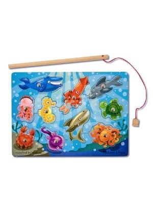 Melissa & Doug - Magnetic Wooden Fishing Game with Magnetic Fishing Pole