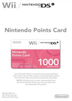 Official Nintendo Points Card - 1000 (For Wii & DSi)