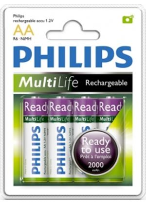 Philips Rechargeable Ready to Use AA 2000 mAh - 4 Pack