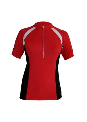 Ladies Cool Flo High Wicking Short Sleeve Cycle Cycling Jersey Red/Black
