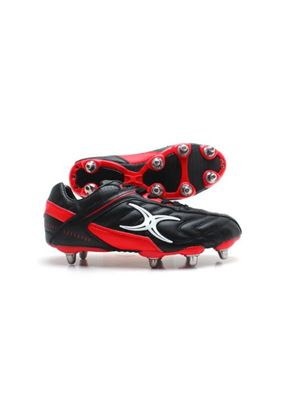 Sidestep Barbarian Lo Cut 8 Stud Rugby Boots - Black/Red (Soft Toe)