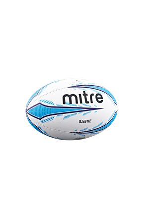 Sabre Rugby Training Ball - White/Cyan