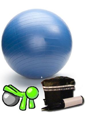 """26"""" / 65cm Anti-Burst Swiss Ball for Pilates - includes hand pump and travel bag"""