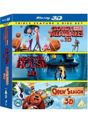 Cloudy With a Chance of Meatballs/ Monster House / Open Season Triple Pack (Blu-ray 3D)