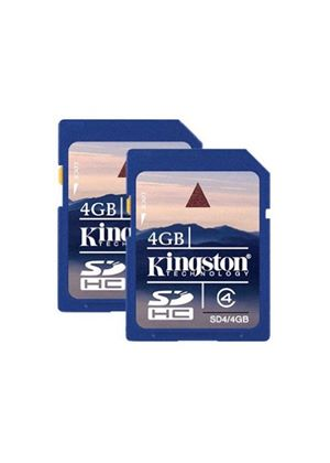 Kingston - SDHC Flash Memory Cards - 4 GB - Class 4 - Pack of 2 (8GB total)