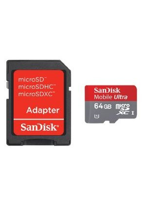 SanDisk 64GB Mobile Ultra MicroSDXC Memory Card Class 10 UHS-I with SD Adapter