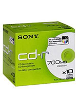 Sony CDQ 80 - 10 x CD-R - 700 MB ( 80min ) 48x - ink jet printable surface - jewel case - storage media