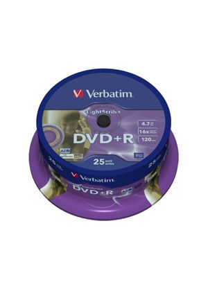 Verbatim LightScribe - 25 x DVD+R - 4.7 GB 16x - LightScribe 1.2 - spindle - storage media