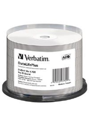 Verbatim DataLifePlus 4.7GB DVD-R 16x Spindle Wide Thermal Professional- No ID Brand (50 Pack)