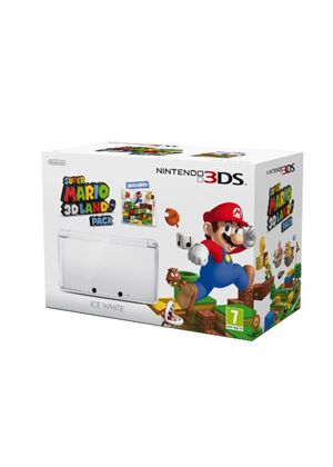 Nintendo 3DS Ice White Console and Super Mario 3D Land (Nintendo 3DS)