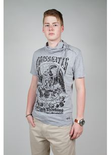 Portrait Snood T Shirt in Grey Marl