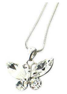 Cubic Zirconia Butterfly Pendant on a 18 inch (45cm) chain with a 2 inch (5cm) extention
