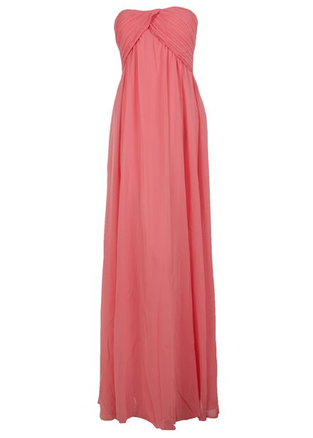 Glamorous Ruched strapless Maxi Dress in Turquoise & Coral *BNWT*
