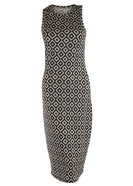 GLAMOROUS Ladies Monochrome Pattern sleevless Midi Dress *BNWT*