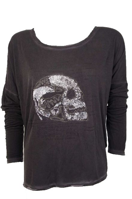 Women's Pepe Jeans The Cockspur Tee embellished Silver bead Skull in Black*BNWT*