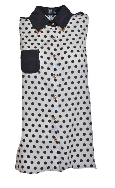 Women's POPPY LUX spot Eva shirt blouse in Black/White Stud collar *BNWT*